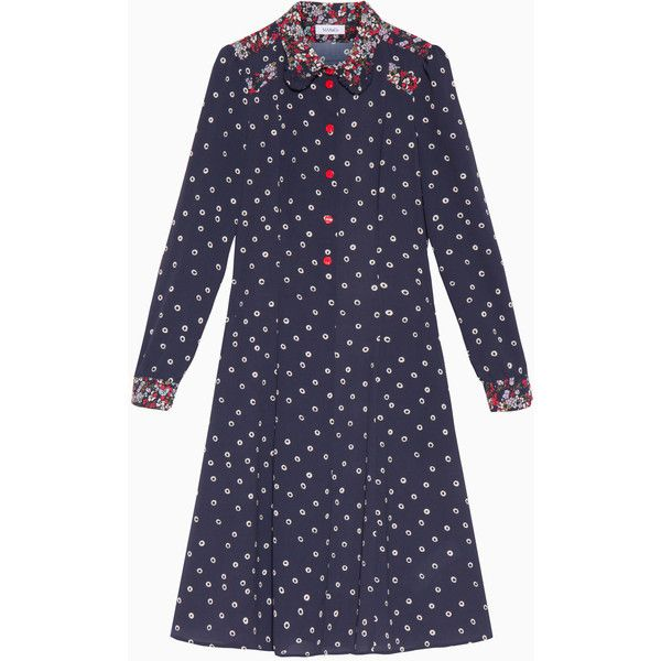 MAX&Co. Mixed print dress ($215) ❤ liked on Polyvore featuring dresses, navy blue pattern, flower print dress, navy blue floral dress, navy floral dress, navy blue polka dot dress and floral dresses