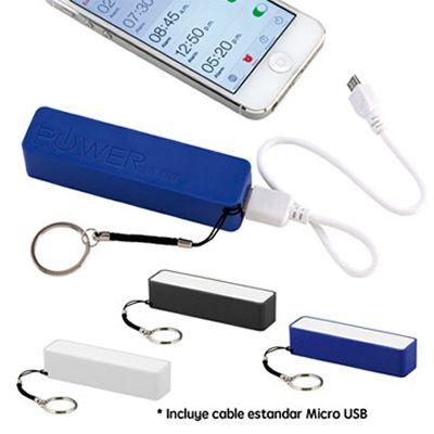 Pila Recargable de 2200 MaH (Mili-Amperios Hora). Que Permite Cargar Teléfonos Móviles y MP3.  Alimentación de Energía Mediante Puerto USB. El Indicador Cambia de Color se Apaga una vez Cargado.  Incluye Cable Estandar Micro USB Si Desea Incluir Cable con 5 Adaptadores (Iphone 4, Iphone 5, Micro USB, Nokia, Blackberry) Costo Adicional. Medidas: 9.8 cm x 2.5 cm x 2.3 cm  Área de Marca: 4.5 cm x 1.5 cm Técnica de Marca: Tampografía Colores Disponibles: Azul, Negro y Blanco.