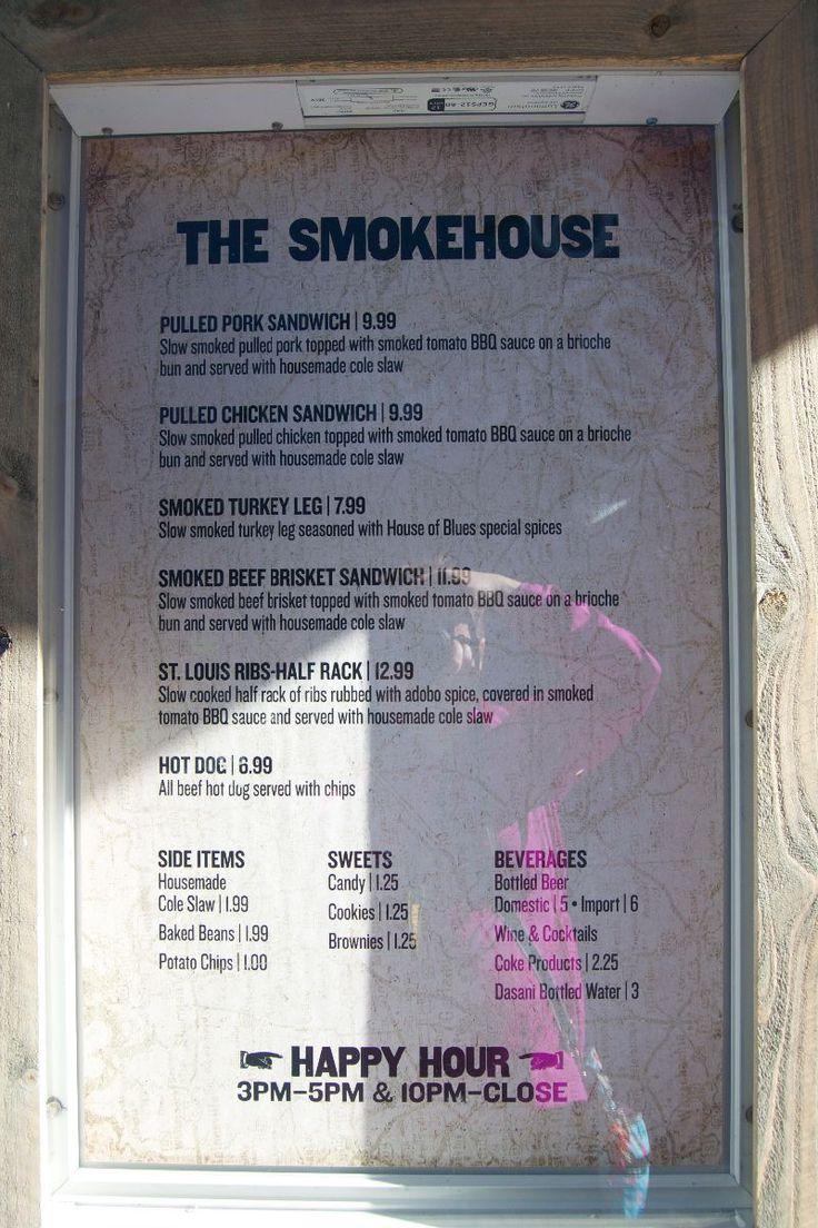 """House of Blues """"Smokehouse"""" quick-service menu..."""