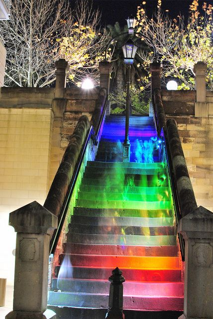 Hopscotch Stairs in Sydney. They light up when people walk up the stairs. Photo by shescrazy, via Flickr