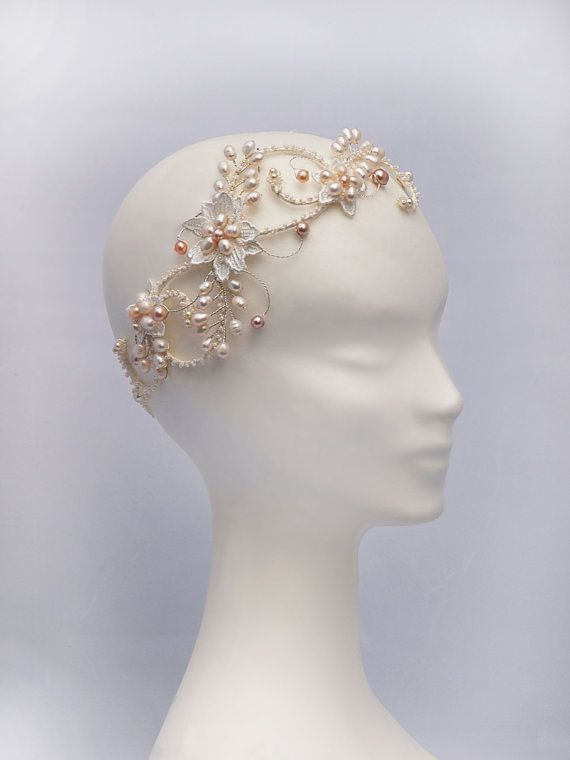 Bohemian Bridal Headdress, Boho Bridal Headpiece, The Evangelina blush Bridal Halo Headpiece