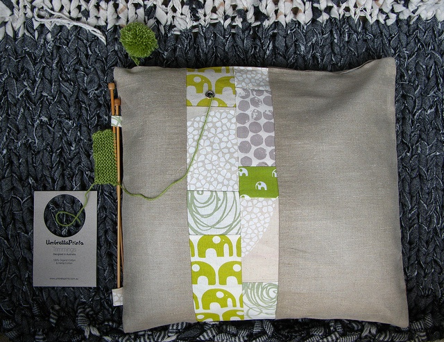 Stash cushion for a knitter by Julie Nelson Rhodes: Umbrella Prints Trimmings Competition 2013