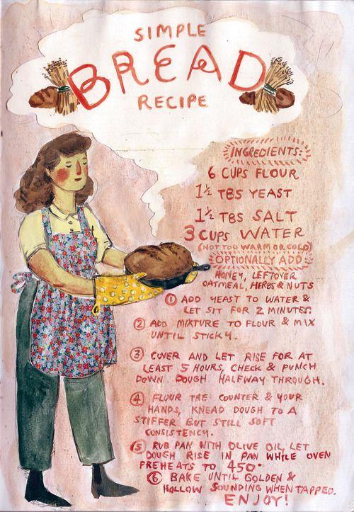 My simple bread recipe, from my spring sketchbook. phoebe-bird