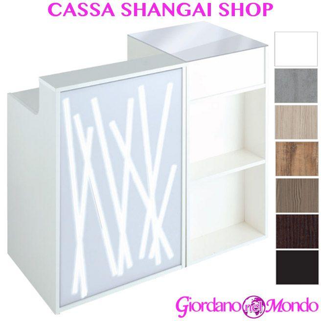 Banco Cassa Reception In Legno Con Led Da Salone Negozio Shangai