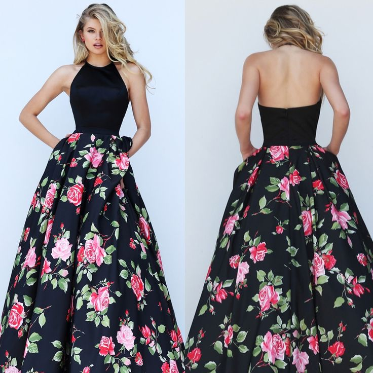 Black Floral Print Halter Top Sherri Hill Dress