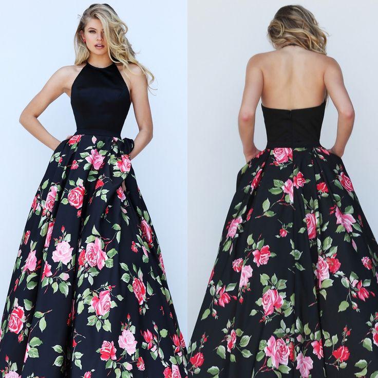 Black Floral Print Halter Top Sherri Hill Dress