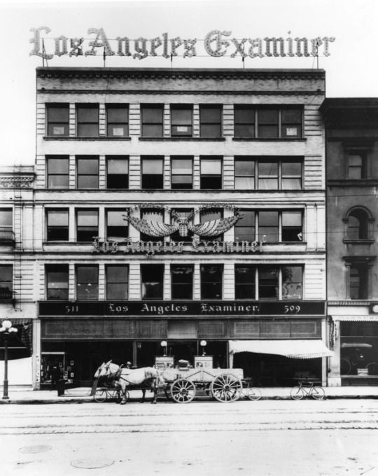 The old Los Angeles Examiner's headquarters on Broadway, near 5th Street, 1890. In 1914 the paper would move to its landmark Julia Morgan-designed building 6 blocks south.