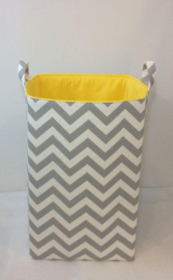 Customize Laundry Hamper Toy Bin Laundry Basket Storage Bin Organizer  Zigzag Chevron Grey/White With Yellow Lining