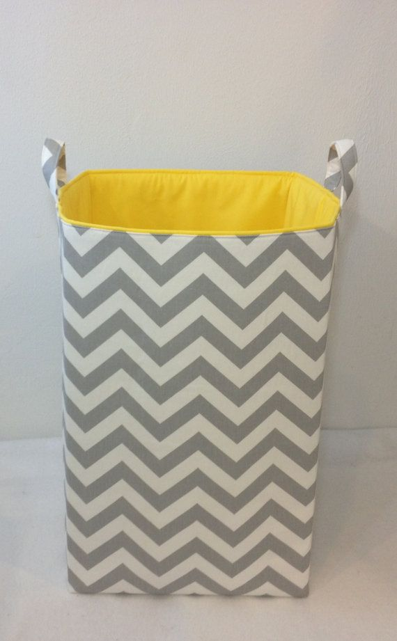 elephant hamper yellow and grey | ... Storage Bin Organizer Zigzag Chevron Grey/White with Yellow Lining