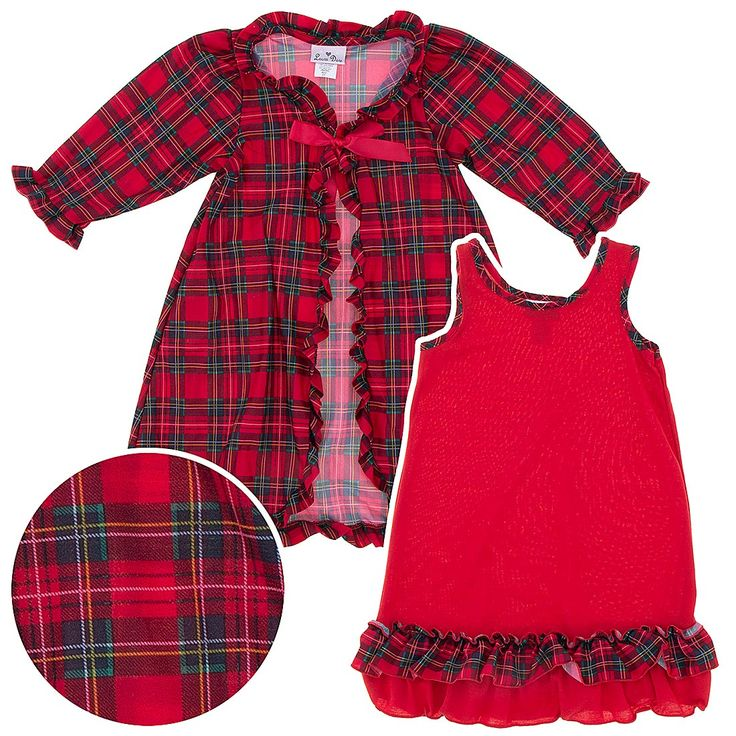 Laura Dare Red Christmas Pajamas Peignoir Set for Girls.  These fabulous and fashionable red girls Christmas pajamas are perfect for any girl who loves the holiday and fashion.