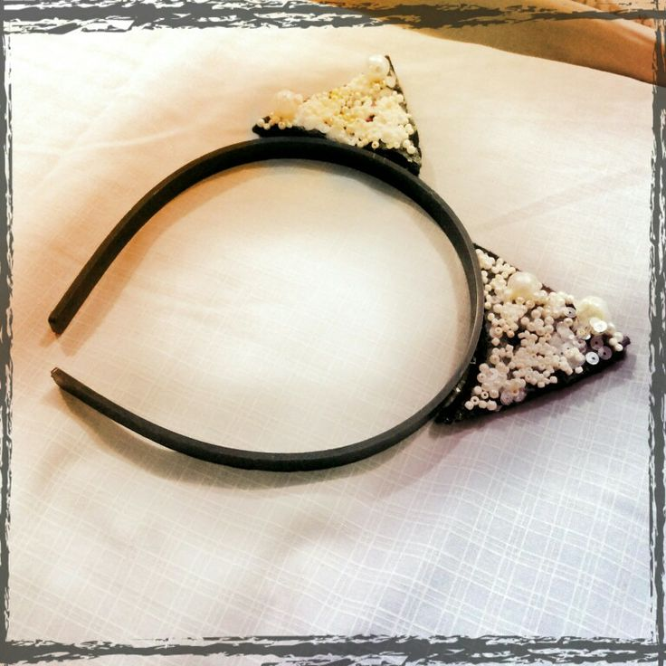 Cat ear head band by my daughter. Easy and beautiful