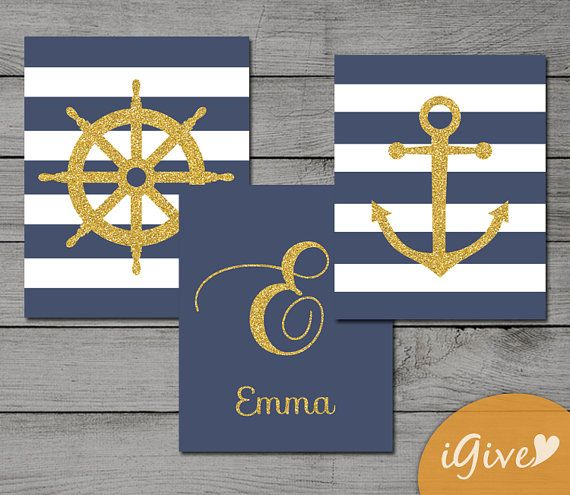 Gold and Navy Nautical Nursery Set of 3 Printable by igivelove, $9.99