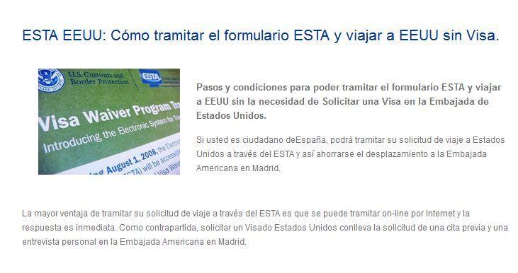 La mayor ventaja de tramitar su solicitud de viaje a través del ESTA es que se puede tramitar on-line por Internet y la respuesta es inmediata. Como contrapartida, solicitar un Visado Estados Unidos conlleva la solicitud de una cita previa y una entrevista personal en la Embajada Americana en Madrid.