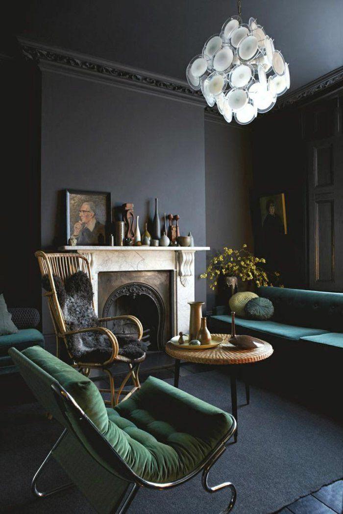 plan de travail gris anthracite, joli salon retro-chic et baroque