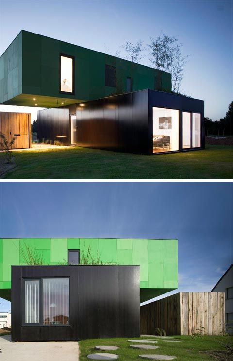 This modern container home is absolutely beautiful. Located in Pont-Péan, France, if I'm not mistaken, the Crossbox house is a single family home constructed from four shipping containers.