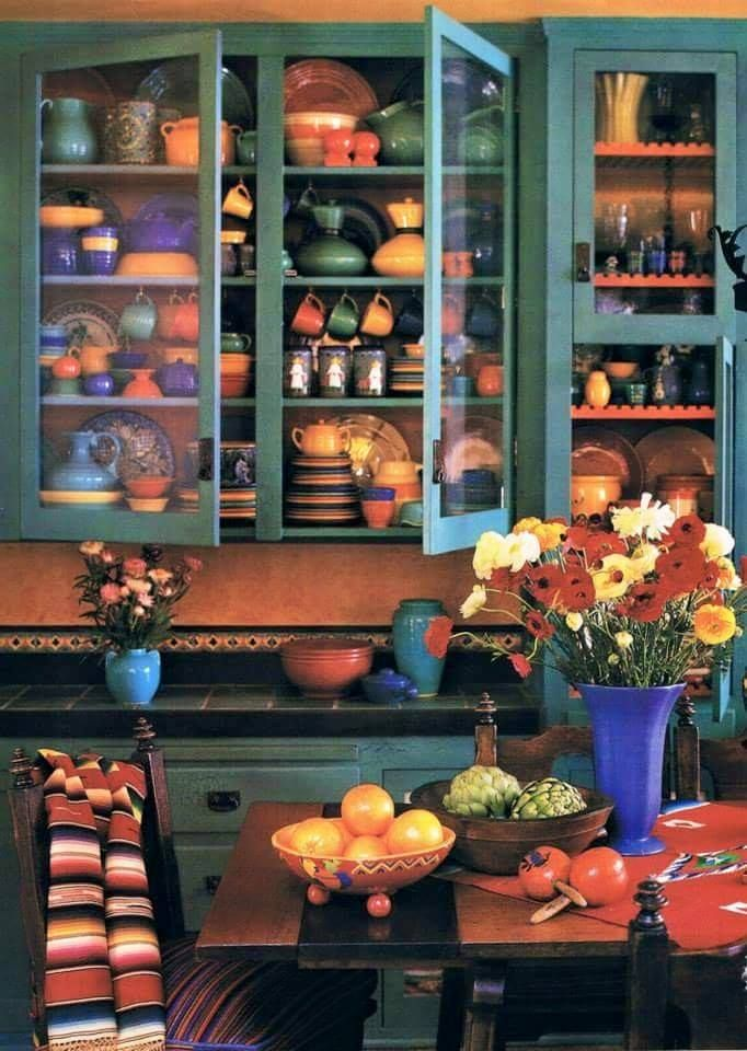 Mexican, southwestern colored kitchen