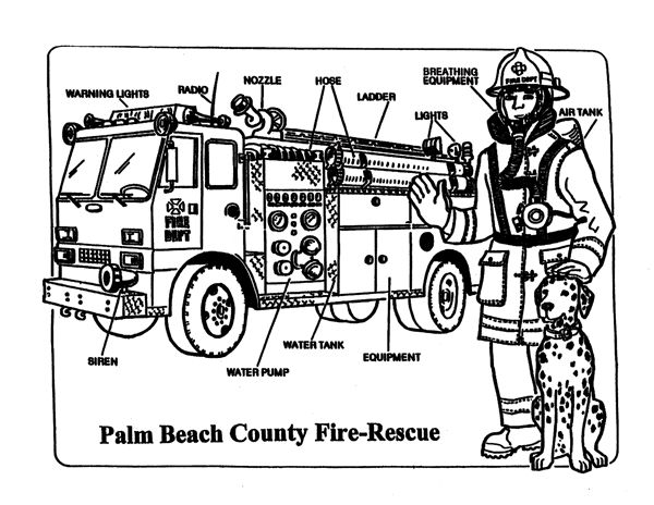 Coloring Page Fire Safety Pinterest