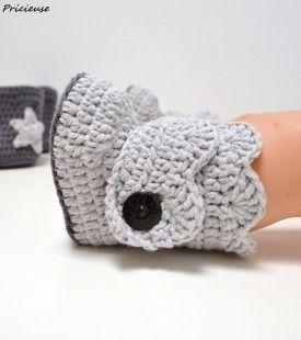 patron PDF en Français chausson au crochet  : Tutoriels de fabrication par pricieuse-crochet