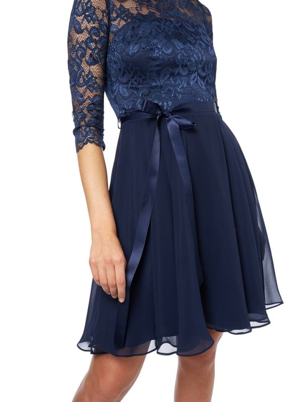 Hohe Taille Frauenkleid Geblümt A Line Kleid Mode Rundhalsausschnitt Stilvoll