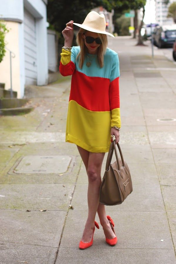 bright color block: Colour, Color Blocking, Fashion, Heidi Merrick, Blocks Dresses, Colorblock, Bridal Shoes, Colors Blocks, Spring Style
