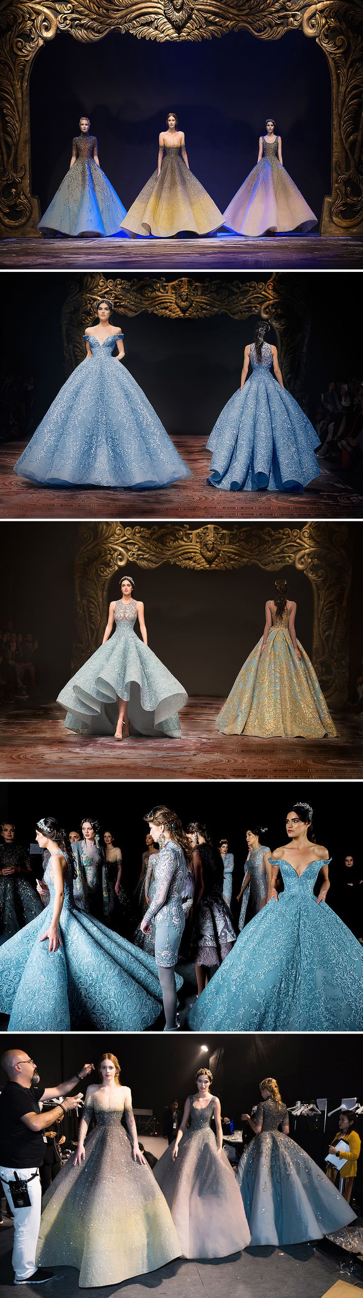 The classic Cinderella Ballroom cut blue one!!! (2nd and 4th pics) And the gold and turquoise one