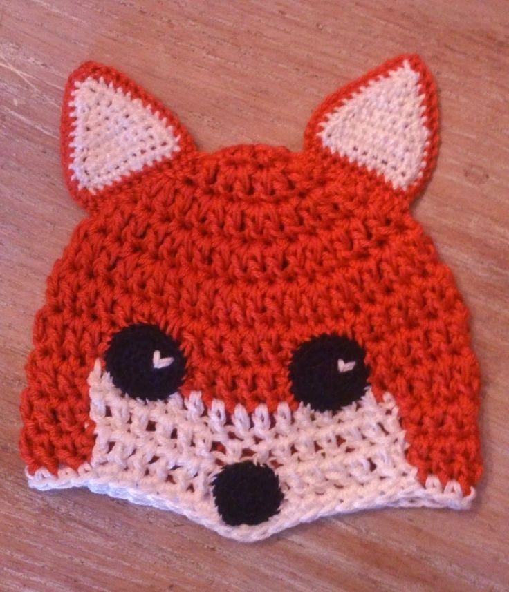 Free crotchet pattern for a fox-hat, written in Dutch.