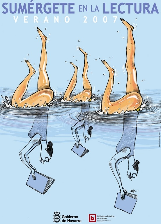 """""""Sumérgete en la lectura"""". Cartel de la campaña para el fomento de la lectura de las Bibliotecas Públicas de Navarra. #BibUpo"""