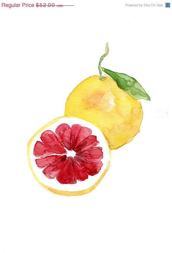 Black Friday Pink grapefruit original watercolor by TheJoyofColor, $41.60