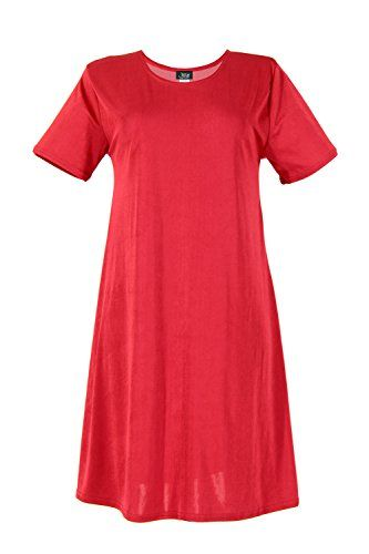 Jostar Stretchy Missy Dress with Short Sleeve in Red Color in Medium Size  90% Polyester, 10% Spandex.  Short sleeve and soft round-neckline short dress and 37 inches in length.  Hand or machine wash in cold water.  Made in USA