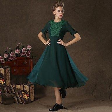οργάντζα δαντέλα vintage μεταξωτά κεντήματα τοποθετηθεί μακρύ φόρεμα swing incern®women του – EUR € 32.48
