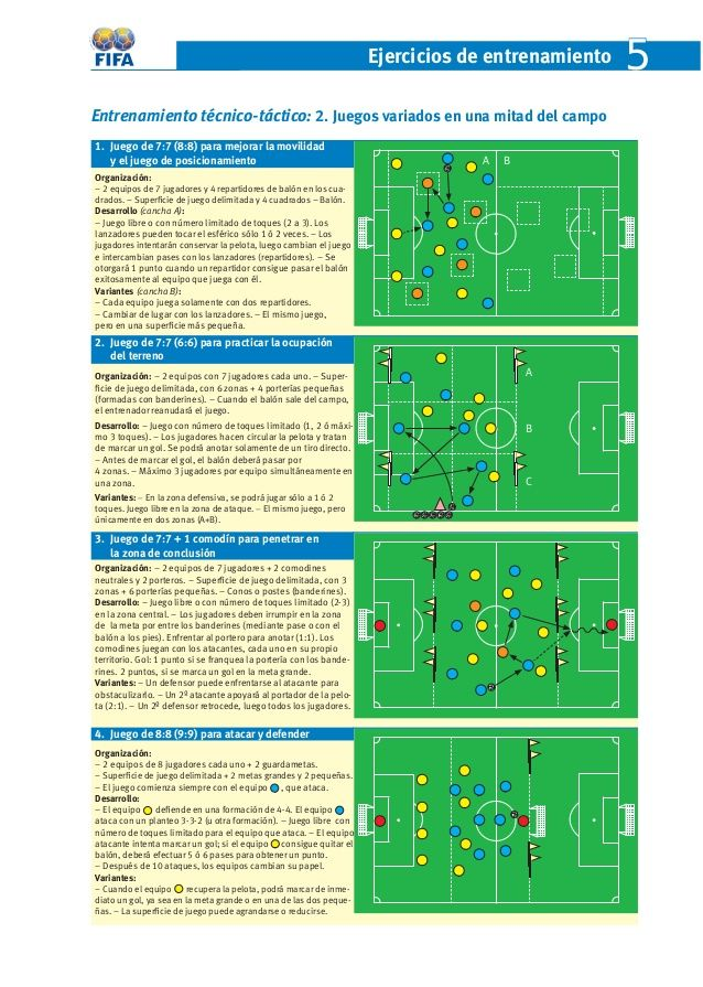Ejercicios de entrenamient o 5 Entrenamiento técnico-táctico: 2. Juegos variados en una mitad del campo 1. Juego de 7:7 ...