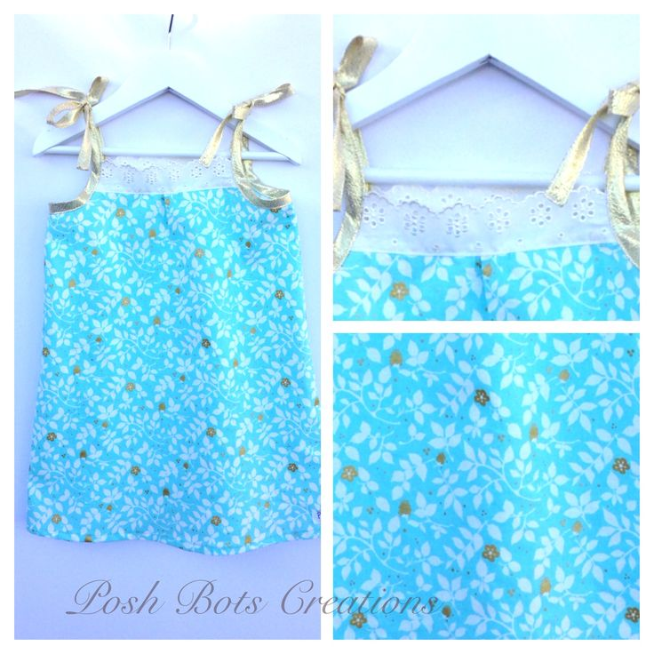 Sweet summer sundress in pretty aqua with sparkly gold highlights