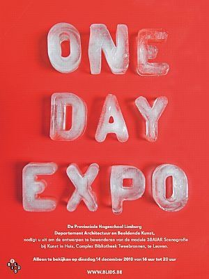 using ice as the typeface for a one day expo, because tomorrow it will be gone
