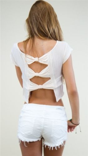 Brandy Melville Zarah Bow-Back Top in Shell Stripe / Apparel Addiction