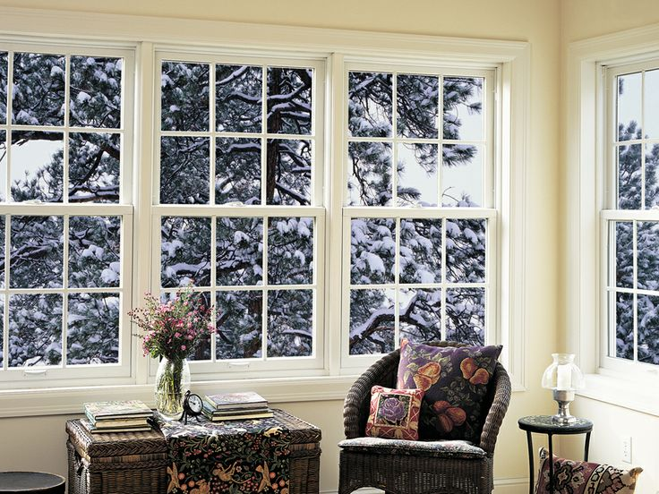 A snowy visual through our double hung window our for Anderson vinyl windows