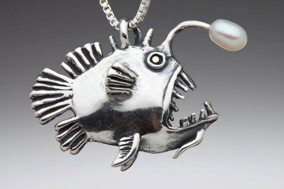 Angler Fish Charm Pendant with Pearl