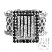 Eternity Ring - Black and white genuine diamonds, 21K white gold, high class, high design, and high fashion,  will include a customized IGI/FERI MOSH Appraisal.