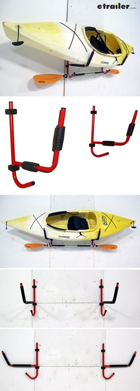 The Gear Up Deluxe Folding Kayak Storage Wall Hook Set has folding storage arms and includes an accessory bar below the main storage hook for a paddle or other accessories. Adjustable rubber boots ensure soft contact between storage hooks and boat.