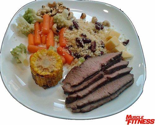 Hovězí maso obsahuje železo, zinek, vitamíny skupiny B a půl gramu kreatinu v jedné 100 g porci. Obsah bílkovin se pohybuje kolem 30 g, tuků 5 g. Zelenina připravena v páre si uchová většinu živin a lžíce kuskusu dodá sacharidy pro energii.