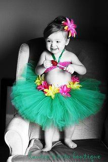 Little Hula Girl Tutu -- For My Little Island Girl. This would be pretty simple to DIY.: Girls Tutu, Little Girls, Hula Dancers, Halloween Tutus, Hula Girls, Birthday Parties, Birthday Theme, Girls Halloween, 1St Birthday
