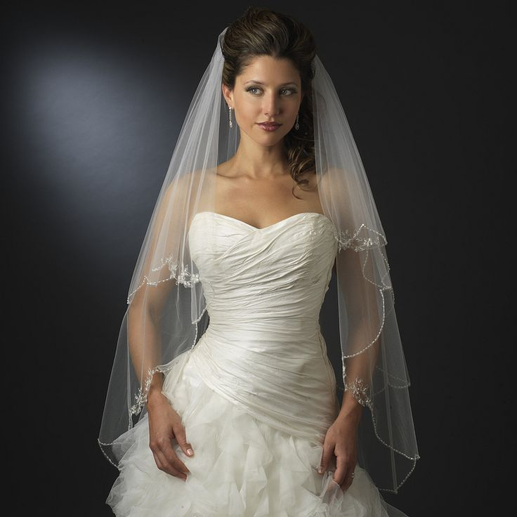 Two Layer Beaded 41 Long Fingertip Length Wedding Veil
