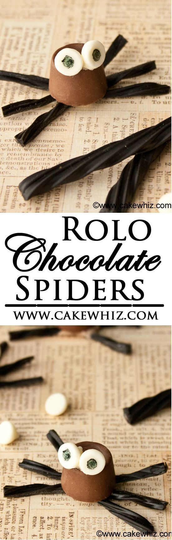 These cute ROLO CHOCOLATE SPIDERS are a fun and easy Halloween treat that you can make with kids! You just need some store bought candies and edible markers. From cakewhiz.com