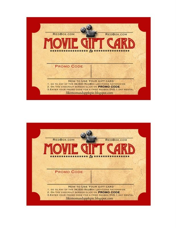 Movie Gift Card Printable Free Movie Gift Redbox Gift Client Appreciation Ideas