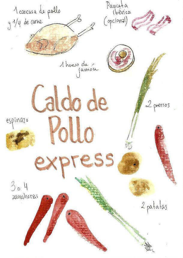 Recetas ilustradas caldo de pollo en olla express