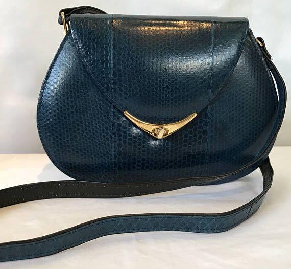Retro 1980's Glam Shoulder Bag Chic Purse Blue Designer