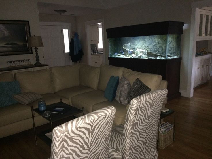 My coastal living room and 180 gallon aquarium