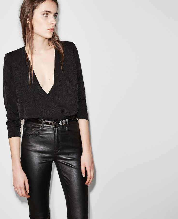 Drape top with epaulettes in tone-on-tone jacquard - Tops & Tank Tops - Women - The Kooples