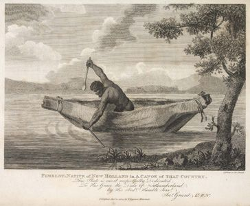 Pimbloy: Native of New Holland in a canoe of that country | State Library of New South Wales
