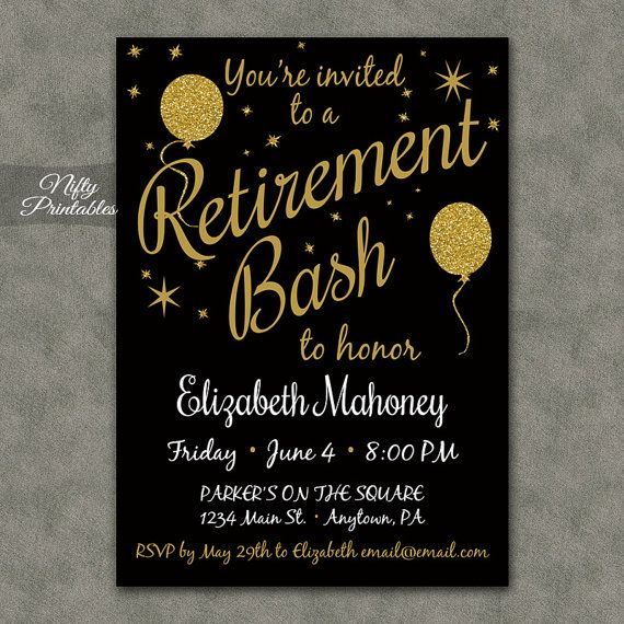 Retirement Party Invitations - Printable Black & Gold Retirement Invites - Gold Glitter Balloons Retirement Celebration Invitation