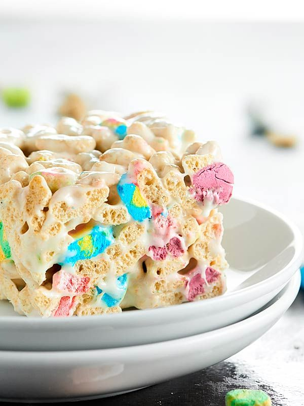 I love these Lucky Charms Marshmallow Treats, because they're crunchy, they're a little salty, so buttery, and hello, there are TWO kinds of marshmallows! showmetheyummy.com